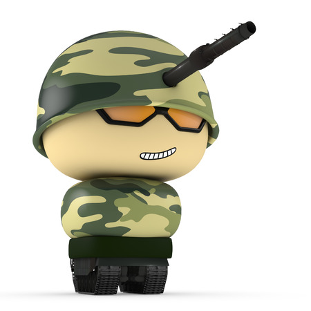 mini job: 3D Cartoon character. Tank soldier isolated on white background with clipping path.
