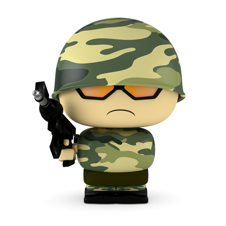 mini job: 3D Cartoon character. Soldier holding an assault gun. Isolated on white background with clipping path.