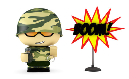 mimetic: 3D Cartoon character. Soldier holding a hand grenade. Isolated on white background with clipping path.