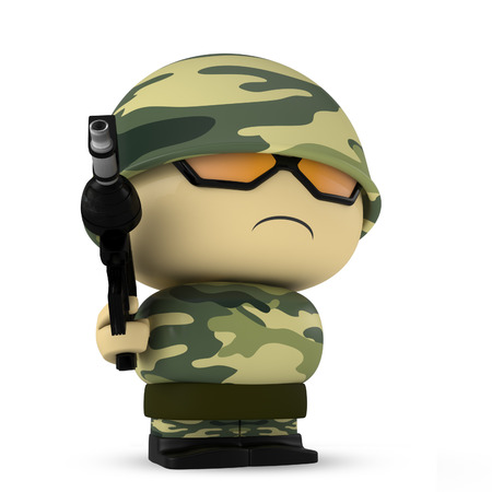 assault: 3D Cartoon character. Soldier holding an assault gun isolated on white background with clipping path.