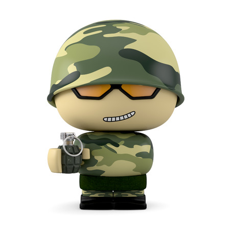 mini job: 3D Cartoon character. Soldier holding a hand grenade isolated on white background with clipping path. Stock Photo