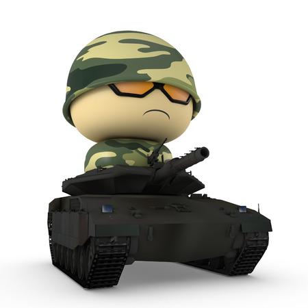 3D karakter van het beeldverhaal. Soldaat rijden tank. Geïsoleerd op een witte achtergrond met het knippen van weg.