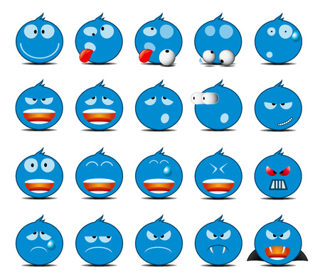 moods: Set of light blue rounded icons in different emotions and moods.
