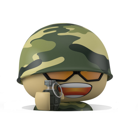 3D Cartoon character. Soldier comes out from trench.