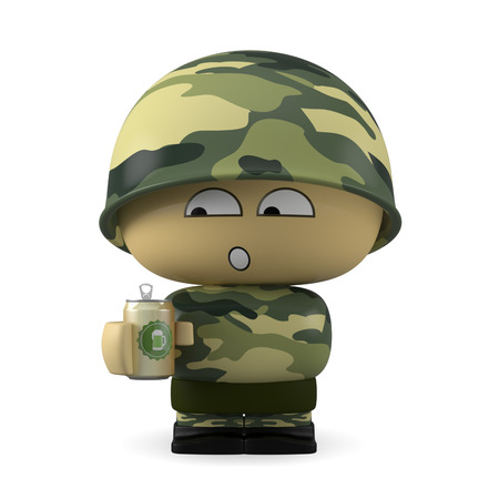 3D Cartoon character. Soldier holding a hbeer can isolated on white background with clipping path. Stock Photo