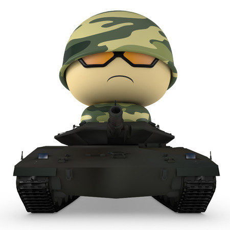 3D Cartoon character. Soldier driving tank. Isolated on white background with clipping path.