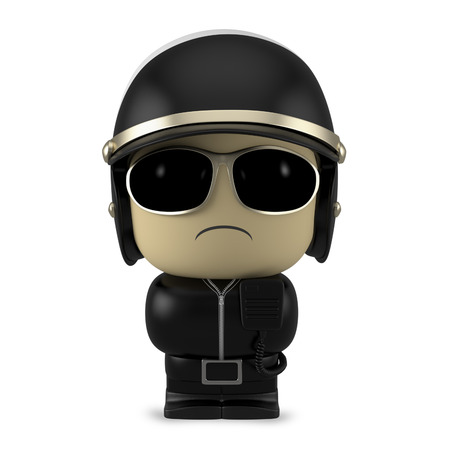 mini job: 3D Cartoon character. Policeman wearing helmet and sunglasses isolated on white background with clipping path.
