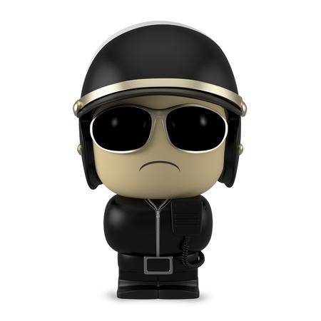 policia caricatura: Personaje de dibujos animados en 3D. Uso del casco del policía y gafas de sol aisladas sobre fondo blanco con trazado de recorte.