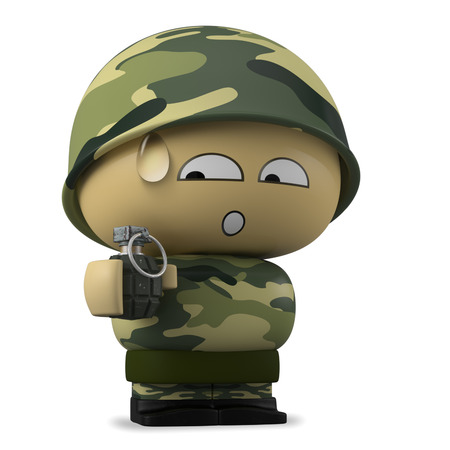 mimetic: 3D Cartoon character. Worried soldier holding a hand grenade isolated on white background with clipping path.