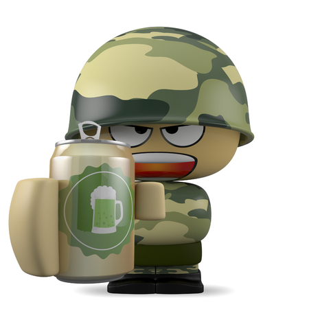 beer can: 3D Cartoon character. Soldier holding a beer can. Isolated on white background with clipping path.