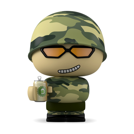 mini job: 3D Cartoon character. Soldier holding a beer can isolated on white background with clipping path.