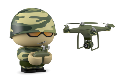 flight helmet: 3D Cartoon character. Soldier operating a drone with remote control. Isolated on white background with clipping path. Stock Photo