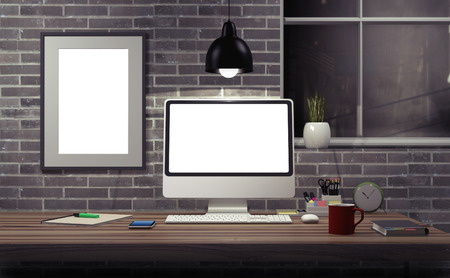 monitor de computadora: Mock up modern office workspace - 3d illustration.