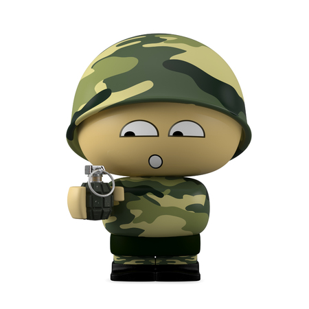 3D Cartoon character. Worried soldier holding a hand grenade isolated on white background with clipping path.