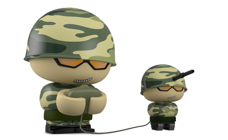 controlled: 3D Cartoon character. Soldier piloting tiny remote controlled tank . Isolated on white background with clipping path.