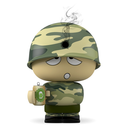 3D Cartoon character. Soldier wearing helmet with hole caused by a bullet. Stock Photo