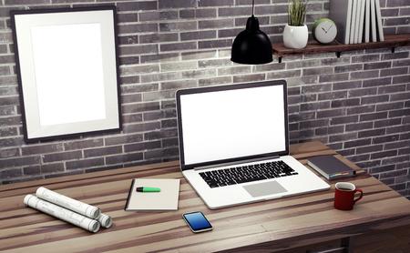telework: Mock up modern office workspace - 3d illustration.