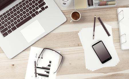telework: Home based business concept. Close-up of modern office workspace. Vintage color grading. 3D Render Stock Photo