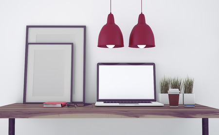 wall paper: Mock up modern office workspace. Blueish color grading- 3d illustration. Stock Photo