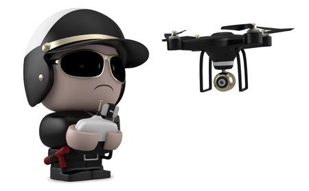 El policía que opera un avión no tripulado con mando a distancia. Aislado en el fondo blanco con saturación camino.