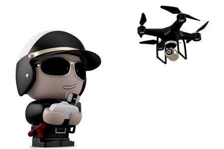 policia caricatura: El policía que opera un avión no tripulado con mando a distancia. Aislado en el fondo blanco con saturación camino.