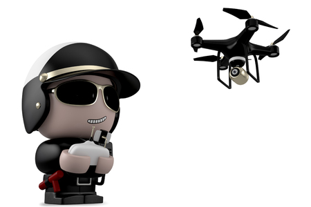 Policeman operating a drone with remote control. Isolated on white background with clipping path.