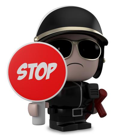 policia caricatura: Policía sostiene una señal de stop. Aislado en el fondo blanco con saturación camino.