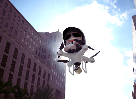 video camera: Policedrone Flying Through City Street. 3D Character Illustration.