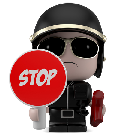 mini job: Policeman holding a stop sign. Isolated on white background with clipping path.
