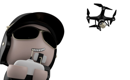 policia caricatura: Policeman operating a drone with remote control. Isolated on white background with clipping path.