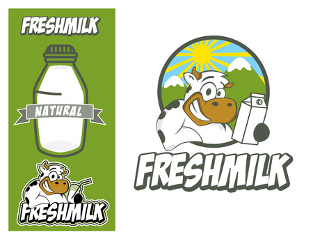 product icon: Logo design element. Fresh milk Concept. Smiling cow holding glass of milk.