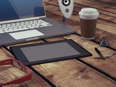 teleworking: Home based business concept. Close-up of modern graphic artist workspace. Vintage color grading. 3D Render