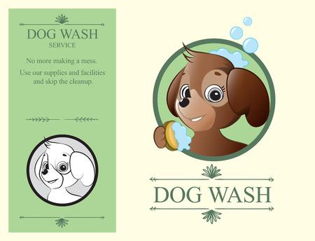 washes: Logo design element. Dog Wash Service. Cute dog holding sponge with foam.