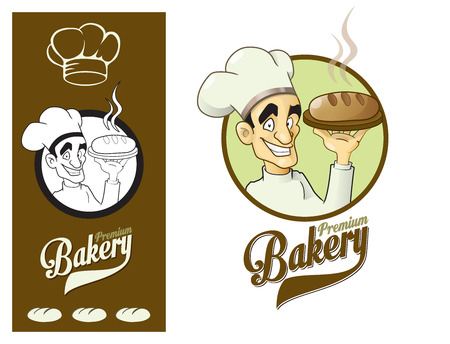 Logo design element. Premium Bakery. Happy Baker Presenting Loaf of Bread.