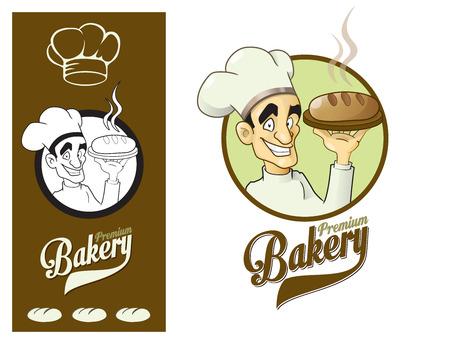 catering service: Logo design element. Premium Bakery. Happy Baker Presenting Loaf of Bread.
