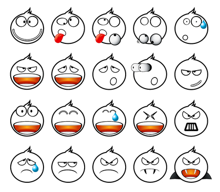 moods: Set of white rounded icons in different emotions and moods.