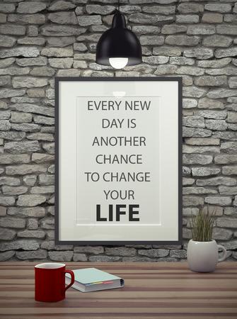 vida: Cita inspirada en marco de imagen sobre una pared de ladrillo sucio. CADA NUEVO DÍA ES otra oportunidad para cambiar su vida.