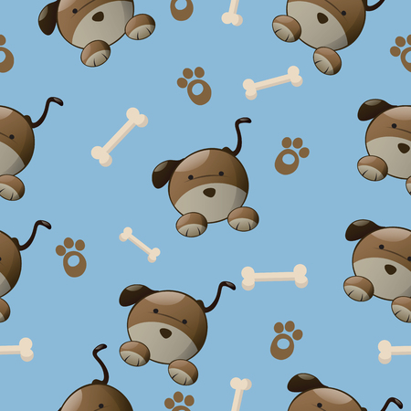 playful: Seamless colorful dog pattern with paw and bone.