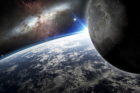 astronautics: Illustration of the planet earth and its moon - 3D Render