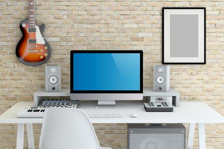 Home Recording Studio - Interior 3D Rendering Stock Photo