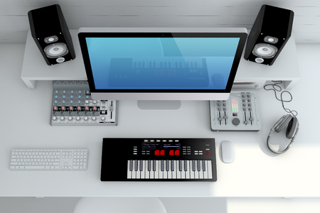 music production home recording studio u2014 top view interior 3d rendering - Music Production Desk