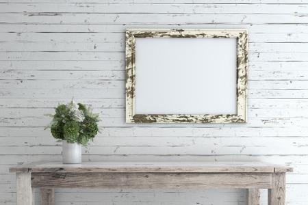marco de imagen en ruinas en la pared de madera vieja con la maqueta silla.