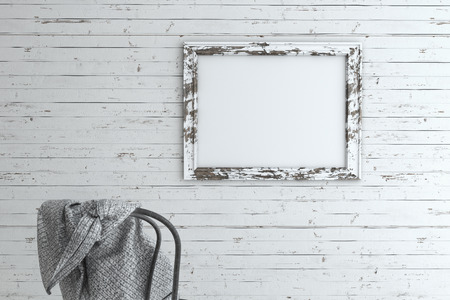 interior spaces: Ruined picture frame on wooden wall with old chair mockup.