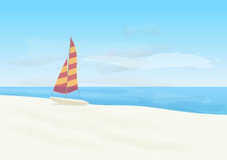 oceanside: Sailboat on the beach. Stock Photo