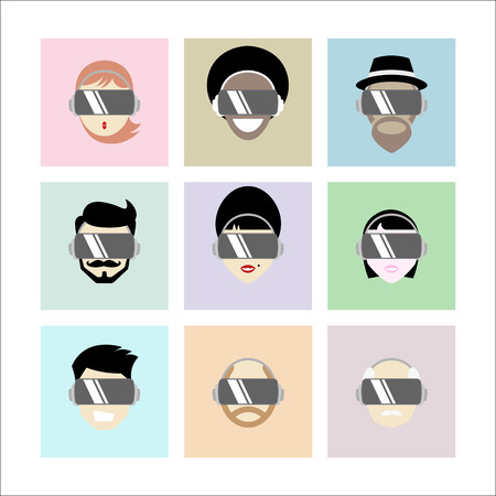 Set of People Wearing Virtual Reality Headset - Vector Illustration