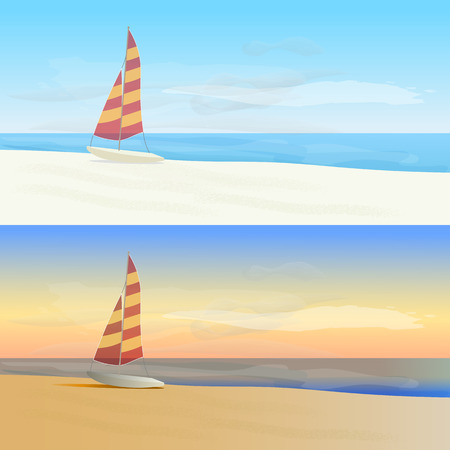 daytime: Daytime and Sunset at Seaside. Sailboat on the beach.