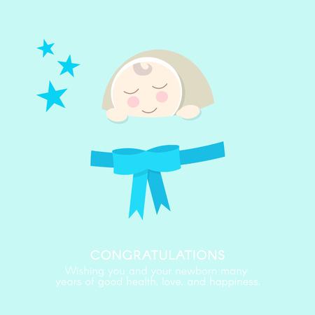 newborn baby: Newborn Congratulations Card Template. Flat style. Stock Photo