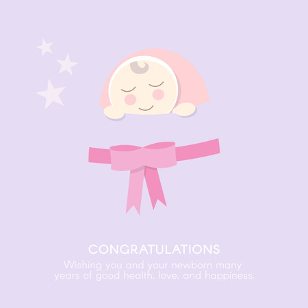 bebes recien nacidos: Enhorabuena recién nacidos plantilla. estilo plano.