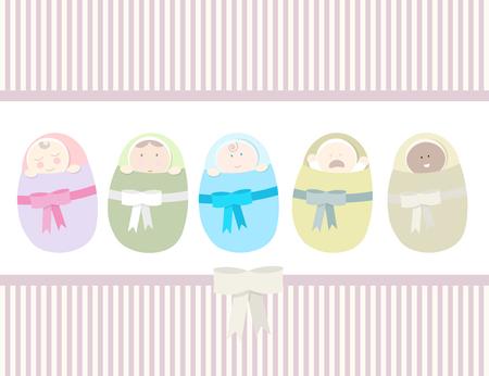 graphic art: Set of different newborns. Flat style.