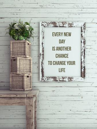 Cita inspirada en marco de imagen. Cada nuevo día es otra oportunidad para cambiar su vida.